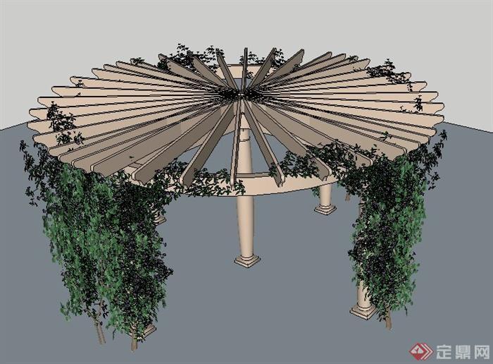 木质圆形花架设计su模型[原创]