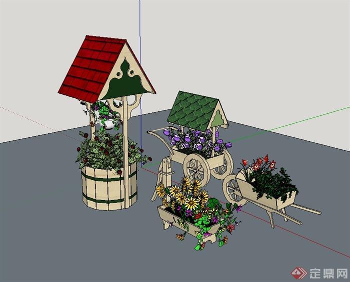 某欧式风格园林小品花箱设计su模型[原创]