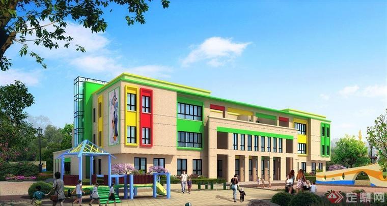 幼儿园的设计窗户外框以及房顶等等的地方利用不同颜色的处理方式来图片