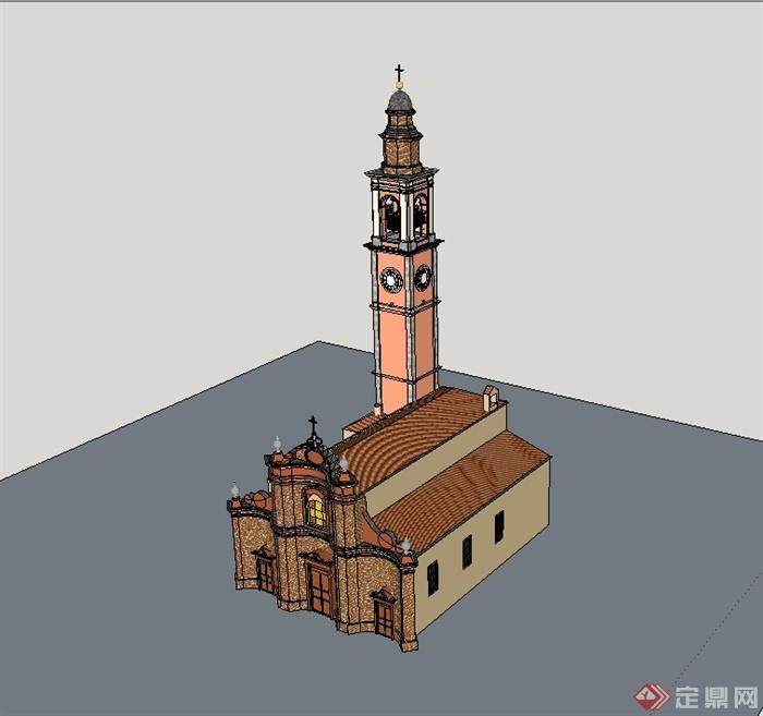 某欧式风格精致详细教堂建筑楼设计su模型[原创]