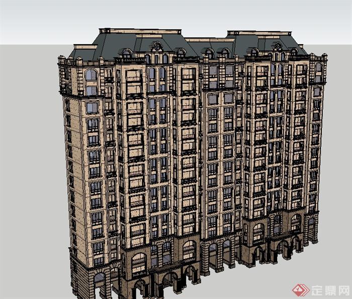 欧式风格精致详细高层住宅建筑su模型[原创]