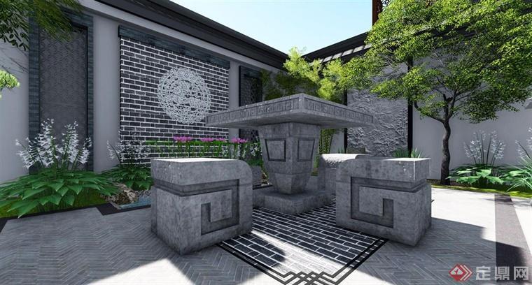 圆形镂空的景墙配合小型喷泉的设计也很有特色.图片