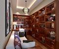 书房,书柜,桌椅,沙发,吊灯