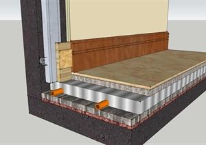 家装木踢脚及地暖工艺节点SU(草图大师)模型