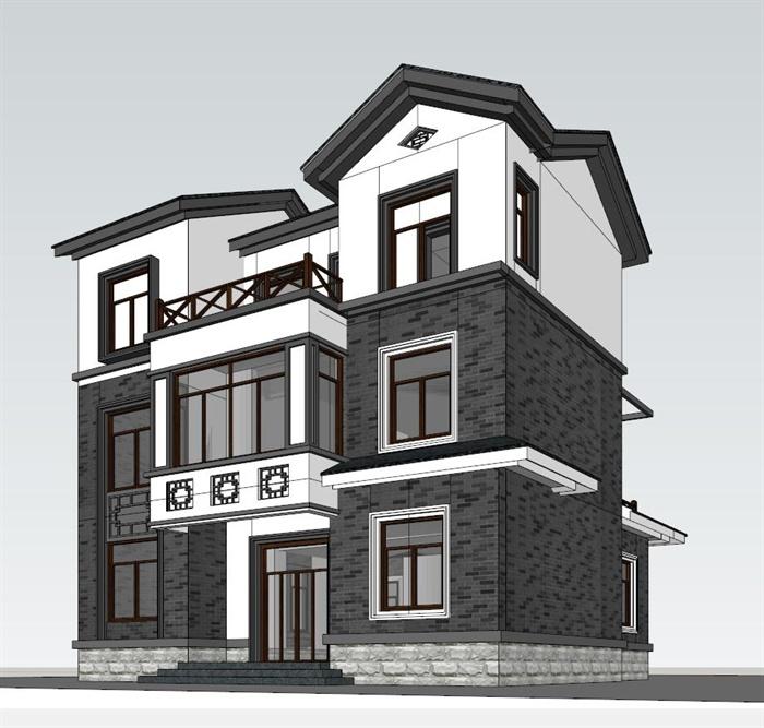 简约中式三层小别墅建筑设计su模型图片