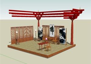 古典中式风格详细室内大堂客厅设计SU(草图大师)模型