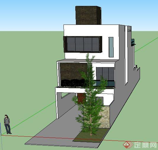 现代长形梯状别墅住宅建筑设计su模型[原创]
