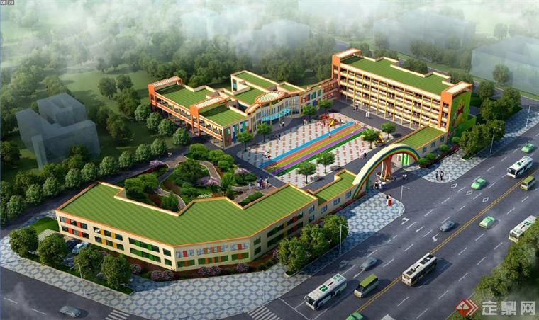 教学楼前的广场设计以彩色的条纹作为主要设计,周围可以放置一些供孩图片