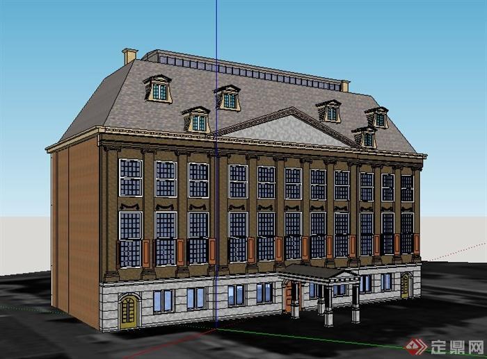欧式多层办公楼建筑设计su精品模型[原创]
