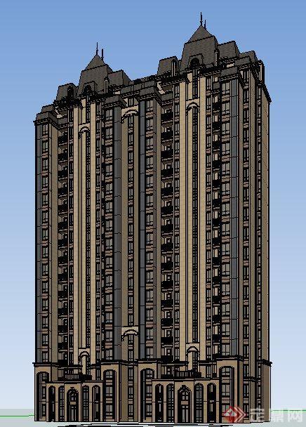独栋欧式高层住宅楼建筑设计su模型[原创]