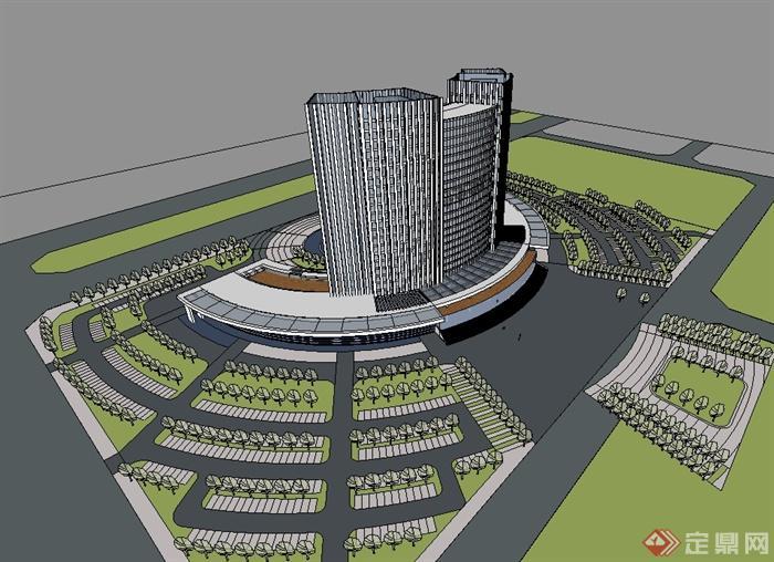 现代风格详细办公大楼圆形广场设计su模型[原创]