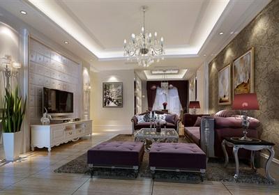 欧式风格三室两厅一厨两卫双阳台装饰施工图及3张效果图-约120平