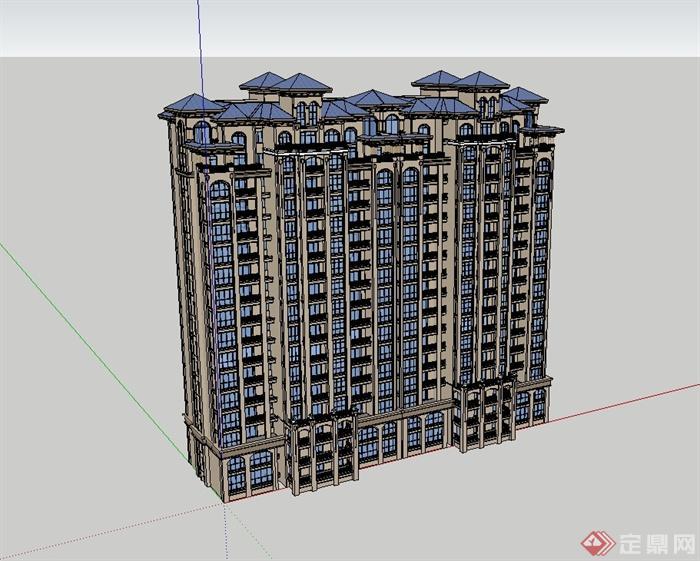 欧式风格详细精致高层居住建筑su模型[原创]