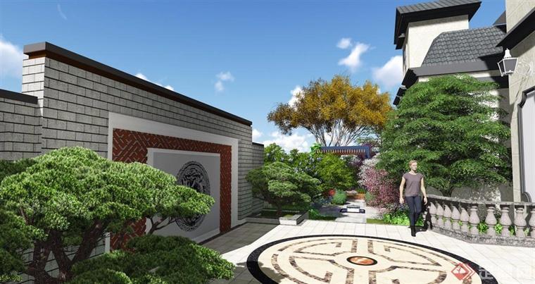 花架内的设计,花季中央设计了小型花坛,靠近围墙的区域设计了中式的图片