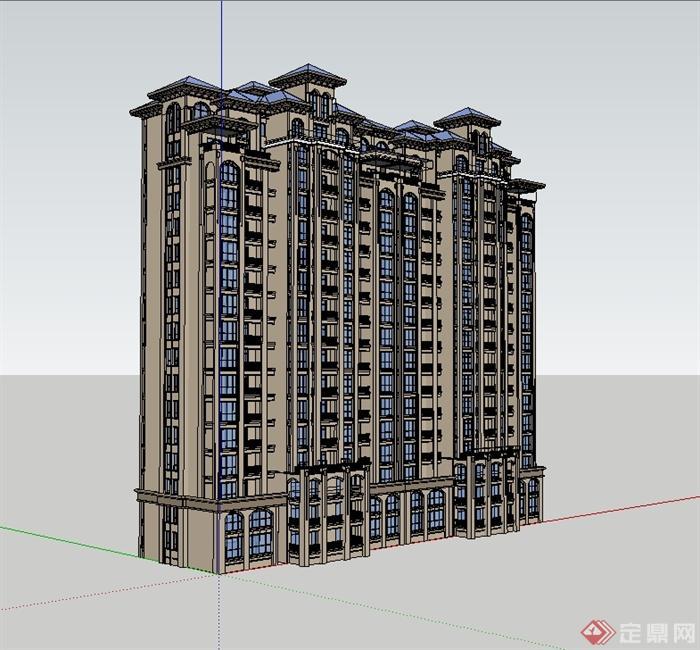 欧式风格详细精致高层居住建筑楼su模型[原创]