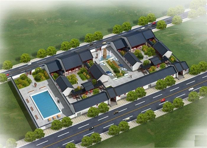 农村一层小四合院建筑楼设计cad方案含效果图