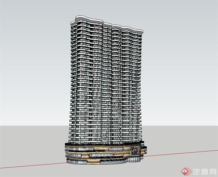 现代风格海边的高层精细曲线商业住宅建筑楼设计su模型[原创]