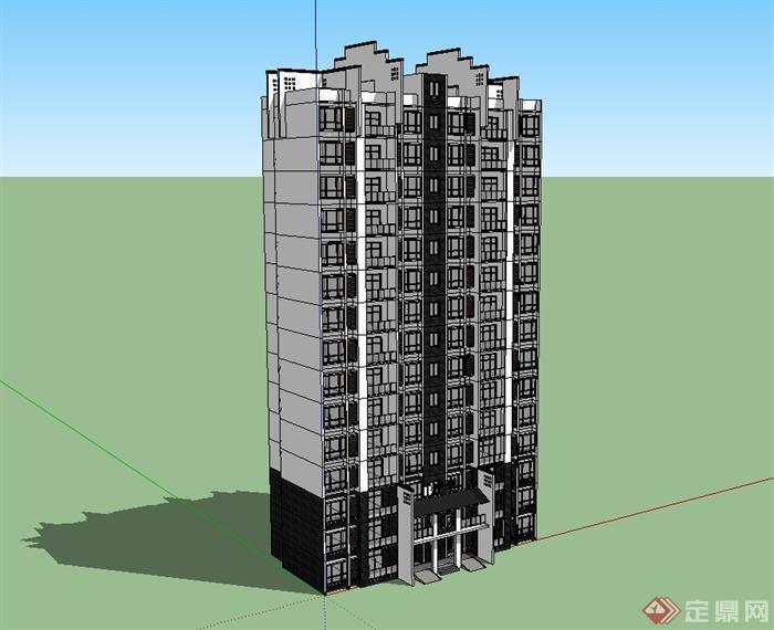 现代中式风格小高层居住建筑su模型[原创]