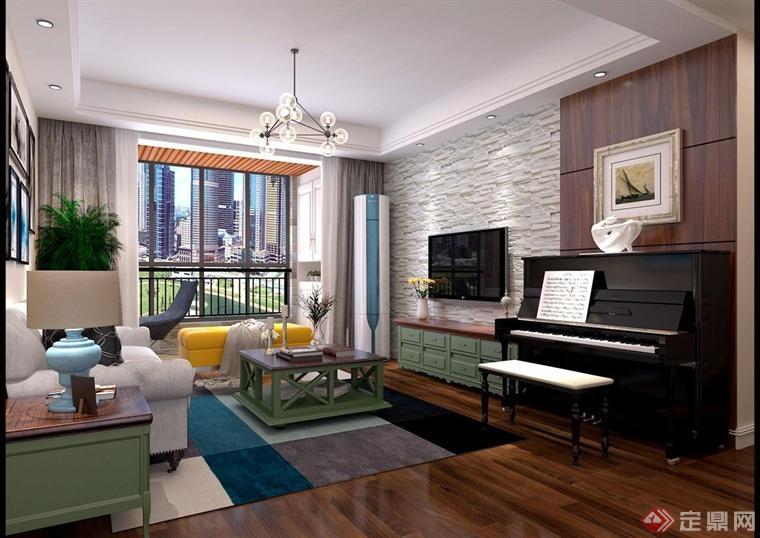 极简的白色吊顶,周围以圆形的射灯作为灯光的装饰点缀,吊灯的设计利用线条进行拼接组成,形成独特的吊灯形式。电视背景墙采用自然田园的白色墙壁进行装饰,右侧钢琴的设计,钢琴——是现代居室的象征,不仅体现出自己一种文化艺术上的喜爱,也体现出了现代某一个家庭的经济情况。