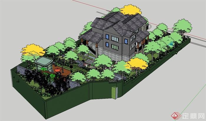 某欧式风格别墅建筑及庭院景观设计su模型[原创]