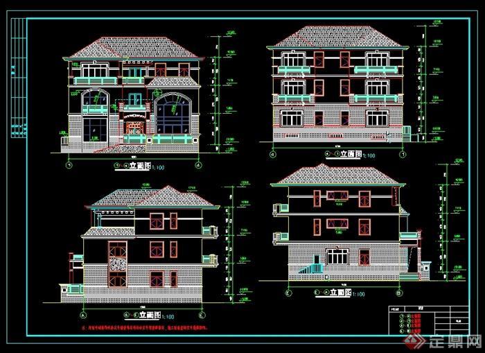 某美式风格三层别墅设计cad施工图
