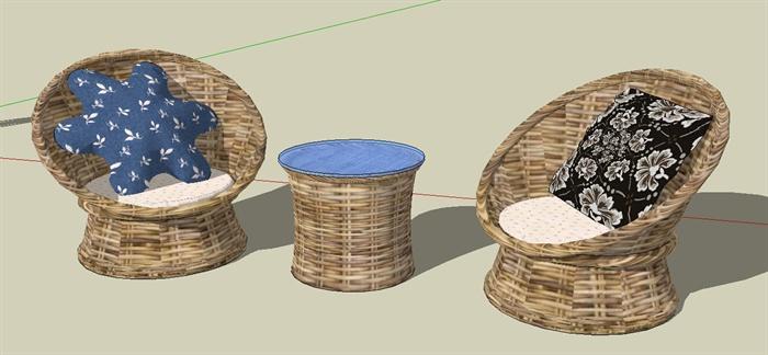 某现代风格休闲藤椅SU模型设计