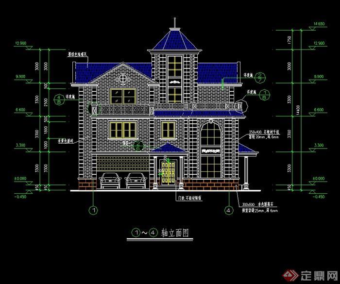 某美式三层别墅建筑楼设计cad施工图[原创]