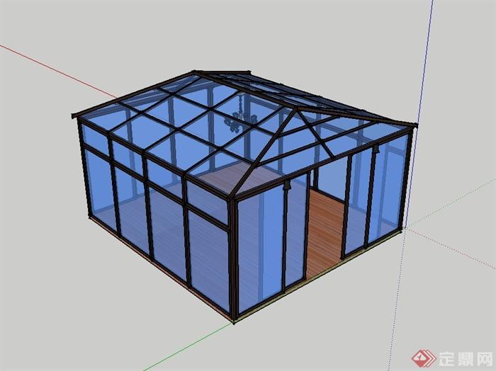 某现代风格玻璃阳光花房设计su模型