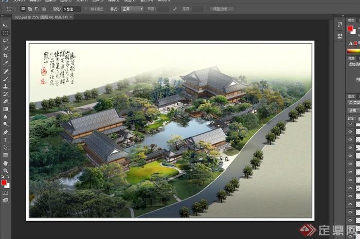 古典中式古园林庭院设计psd效果图(2)