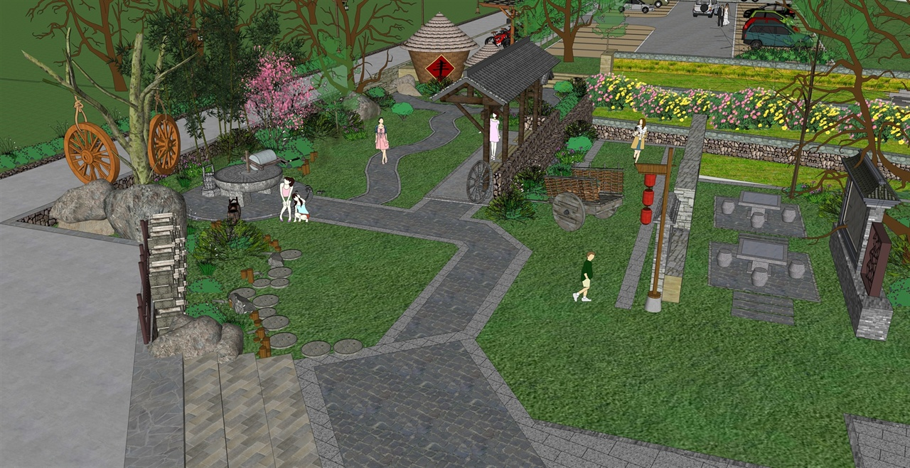 乡村民俗景观场景,广场,绿化