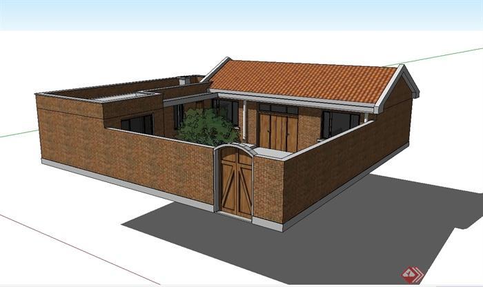 现代中式模型别墅小风格建筑设计su别墅[原创村落泷湾苑图片