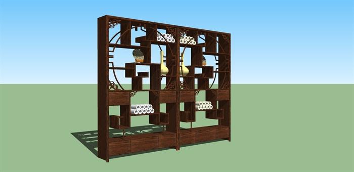 某古典中式风格博古架设计SU模型