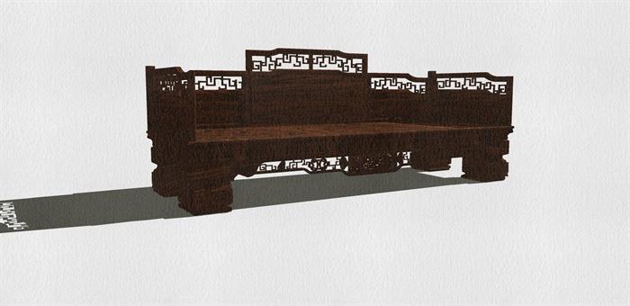 某古典中式风格罗汉床设计SU模型
