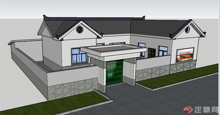 现代中式风格民宅民房住宅建筑su模型[原创]