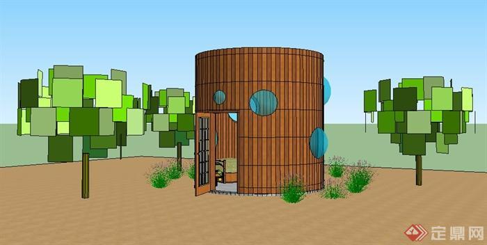 现代圆柱体住宅建筑设计su模型图片