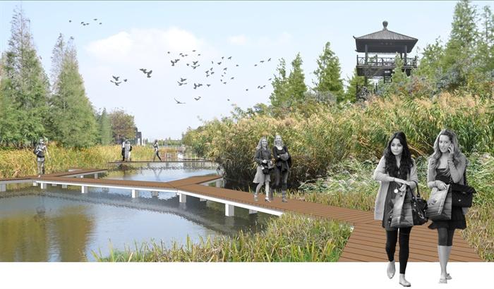 某现代风格滨水景观设计psd效果图