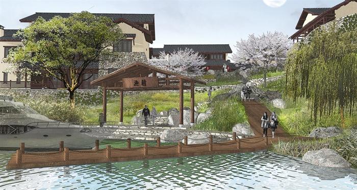 某现代中式风格渔村景观设计psd效果图[原创]