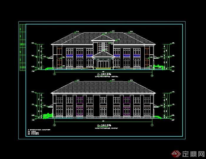 中式风格详细精致办公楼两层坡屋顶建筑楼设计cad施工