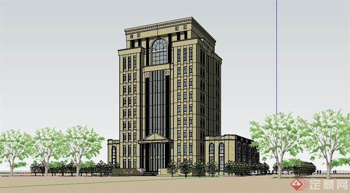 欧式风格高层办公楼建筑设计su精品模型[原创]