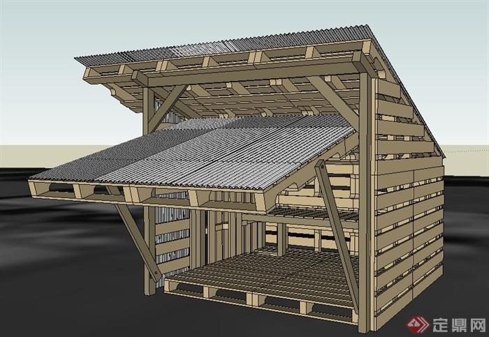 木质农场鸡舍建筑设计su模型