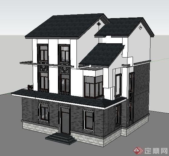 简约中式三层小别墅建筑设计su别墅[原创][Simv别墅长模型隆图片