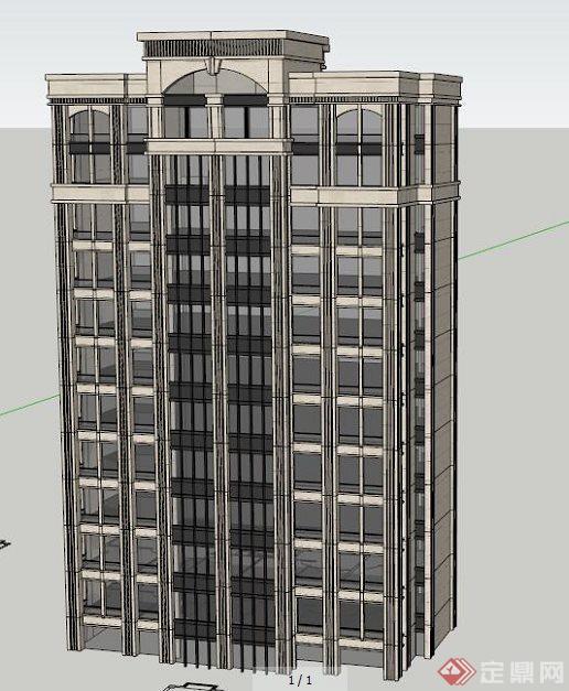 某简约欧式高层住宅建筑设计su模型[原创]