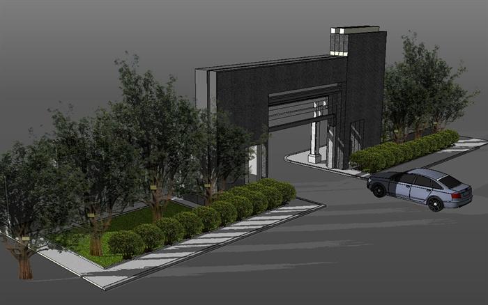 某现代中式风格住宅小区大门设计su模型[原创]