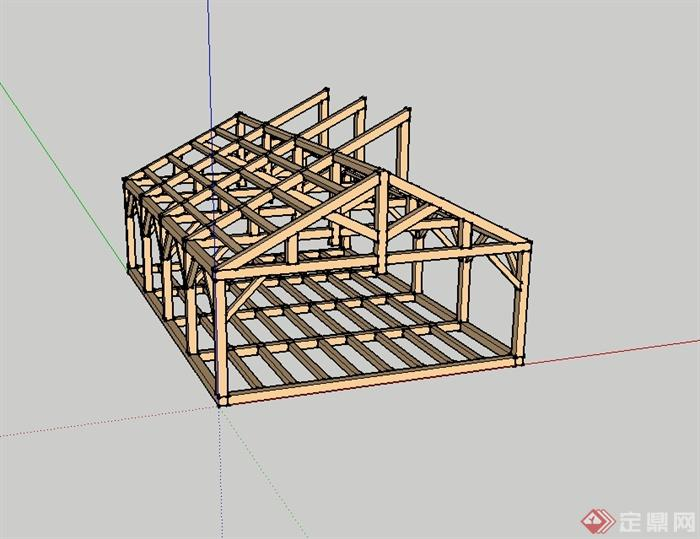某现代风格防腐木车间建筑结构设计su模型[原创]