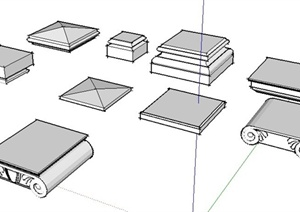 9款柱子柱头设计SU(草图大师)模型