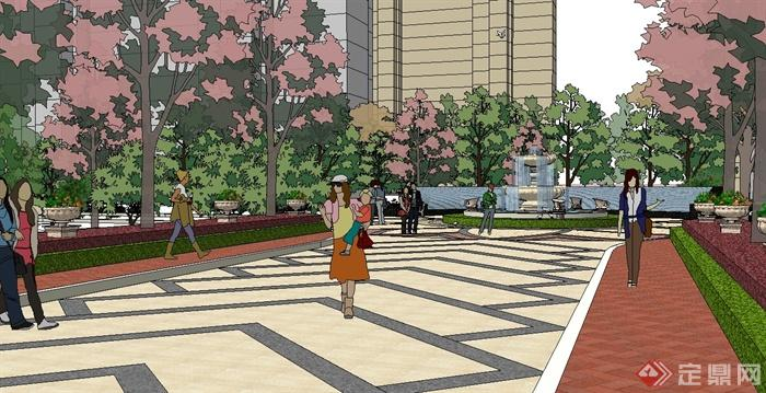 某欧式风格住宅小区中庭主入口景观设计su模型[原创]