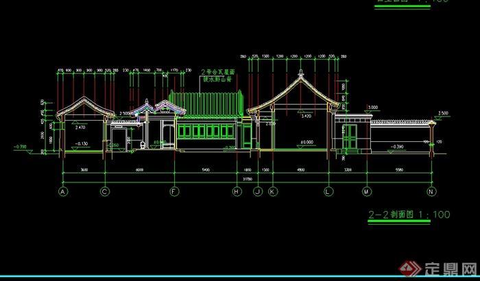 农村一层小四合院建筑楼设计cad方案含效果图(2)