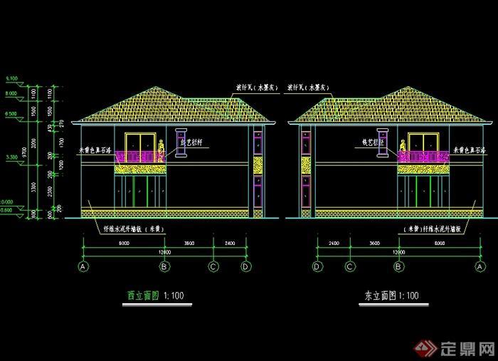 美式风格二层联排别墅设计cad施工图及缩略效果图