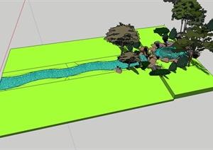 涌泉溪流设计SU(草图大师)模型