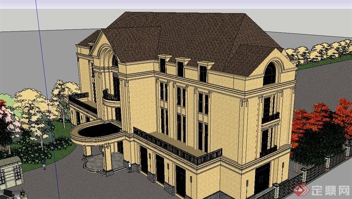 某欧式风格厂区办公楼建筑su模型设计[原创]